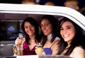 Girls night out in a limousine Royalty Free Stock Images
