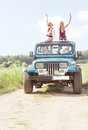 Girls in off-road vehicle Royalty Free Stock Photo