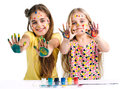 Girls painted paints showing hands Stock Images
