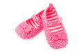 Girls pink baby shoes Stock Images