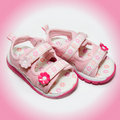 Girls pink sandals Royalty Free Stock Photo
