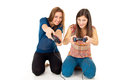 Girls play video games Royalty Free Stock Photo