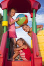 Girls at the playground three little caucasian Royalty Free Stock Images