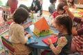 Girls playing in kindergarten preschool children the classroom activities at a bucharest romania Stock Photos