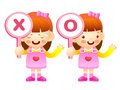 Girls are playing ox quiz game education and life character des design series Stock Images