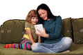 Girls playing with tablet pc Royalty Free Stock Photos