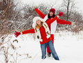 Girls plays in winter Royalty Free Stock Image
