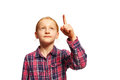 Girls pointing upwards young girl on the top Royalty Free Stock Images