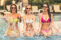 Girls at the pool Royalty Free Stock Photo
