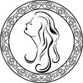 Girls profile in Celtic circle Royalty Free Stock Photo