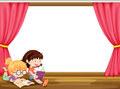Girls reading book illustration of in a room Royalty Free Stock Image