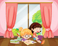 Girls reading book illustration of in a room Royalty Free Stock Photos