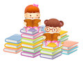Girls are reading a large book education and life character des design series Royalty Free Stock Photos