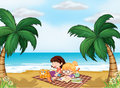 Girls reading near the beach illustration of with a cat Royalty Free Stock Photos