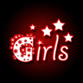 Girls in red black background dark image with text neon style Stock Photo