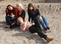 Girls relaxing outdoors Royalty Free Stock Image