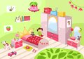 Girls room illustration of a cute pink Stock Photo