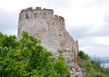 Girls ruined castle czech republic south moravia europe ruins landscape palava Stock Photo
