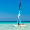 Girls sailing on a  catamaran at Varadero beach in Cuba Royalty Free Stock Photo