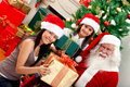 Girls with Santa Claus Royalty Free Stock Photography
