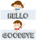Girls saying hello and goodbye