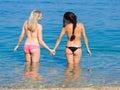 Girls at the sea Royalty Free Stock Photo