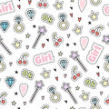 Girls seamless vector pattern with magic objects