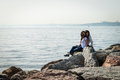 Girls at seaside in Kadikoy, Istanbul, Turkey Royalty Free Stock Photo