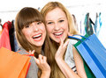 Girls with shopping bags Royalty Free Stock Photography