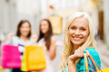 Girls with shopping bags in ctiy and tourism concept beautiful Stock Photo