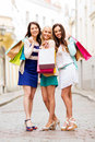 Girls with shopping bags in ctiy and tourism concept beautiful Royalty Free Stock Photography