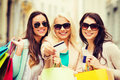 Girls with shopping bags in ctiy and tourism concept beautiful and credit card Royalty Free Stock Photography