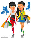 Girls and shopping image of two beautiful with fashionable in their hands Stock Photography