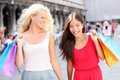 Girls shopping - women shoppers with bags, Venice Royalty Free Stock Photos