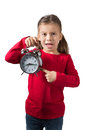 Girls Showing Alarm Clock Royalty Free Stock Photos