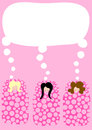 Girls in sleeping bags pyjama party invitation Royalty Free Stock Photo