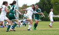 Girls soccer action Royalty Free Stock Images