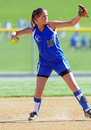 Girls softball - throwing from the infield Stock Photo