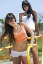 Girls on sport playground Royalty Free Stock Photo