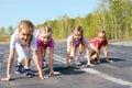 Girls starting to run on track Royalty Free Stock Photo