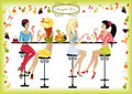 Girls summer cafe Royalty Free Stock Photography