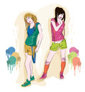 Girls in summer clothes drawing of colored suits Royalty Free Stock Images