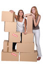 Girls surrounded by boxes Stock Images
