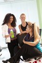 Girls talking at the gym Royalty Free Stock Photography