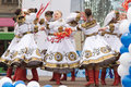 Girls in traditional costumes dancing on stage tver russia march at a concert dedicated to the paralympic torch relay paralympic Stock Images