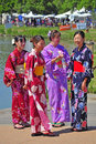 Girls in traditional japanese costumes Stock Images