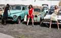 Girls with vintage car Stock Photography