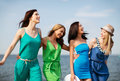 Girls walking on the beach summer holidays and vacation Royalty Free Stock Photo