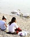 Girls watching swans on lake Stock Photo