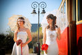 Girls in a wedding dresses posing Royalty Free Stock Image